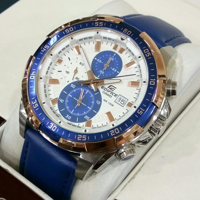 harga Jam casio edifice efr 539l - 1av leather blue Tokopedia.com
