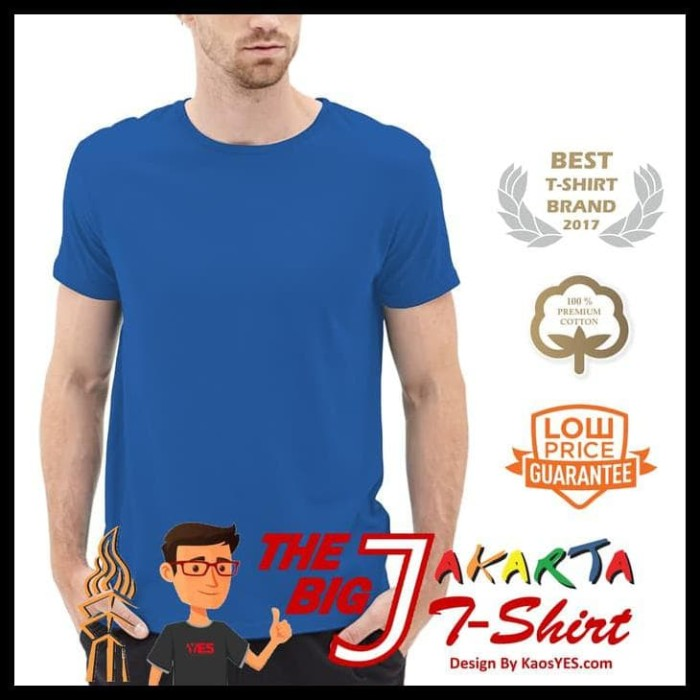 NEW KaosYES Kaos Polos T-Shirt O-NECK LENGAN PENDEK - Biru Tua,