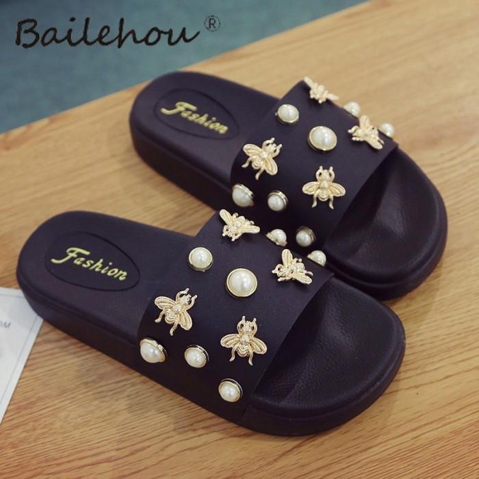 d90813b8d722 Jual Bailehou Women Slippers Flat Ladies Woman Shoes New Slip On ...