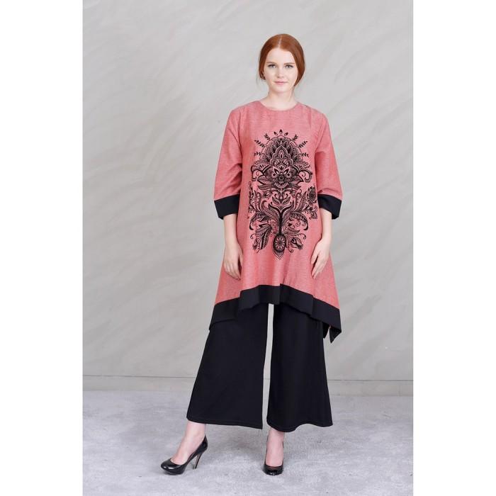 Jfashion Tunik Tangan 34 Printing Beludru Kombinasi warna Arimbi