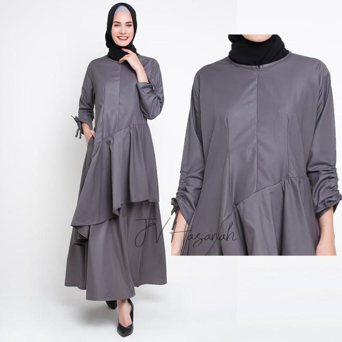 JV Hasanah Nabila Ruffle Dress - Grey