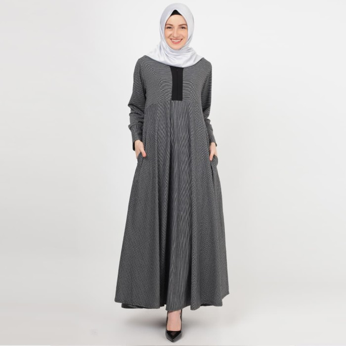 JV Hasanah Asyifa Stripes Misty Dress - Black