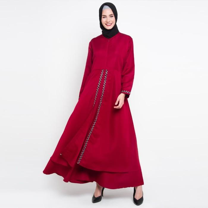 JV Hasanah Rasha Lace Dress - Maroon