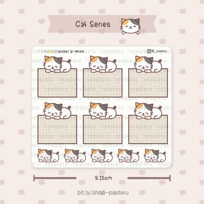 photograph about Blank Planner named Jual MIU10 - Sleeping Cat Blank Box / Planner Sticker / Bullet Magazine - Kota Tangerang Selatan - Pasteru Tokopedia