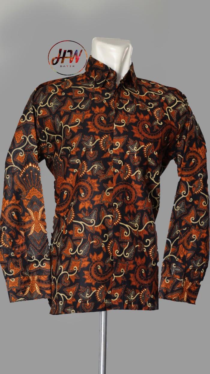 Jual Kemeja Batik Hem Batik Baju Batik Motif Bali Lawas Hitam XL Kab Sukoharjo HW Batik