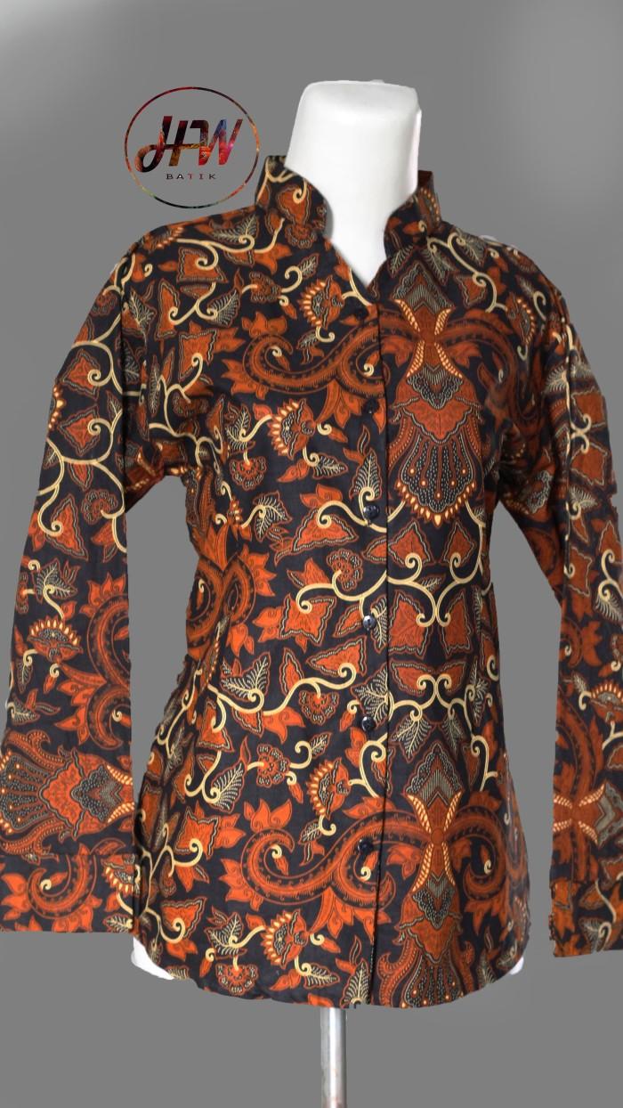 Jual Blouse Batik Wanita Atasan Batik Wanita Motif Pisang Bali Lawas Kab Sukoharjo HW Batik