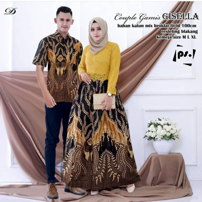 Jual Setelan Baju Batik Couple Gamis Brokat Batik Pasangan Terbaru Dmr11 Kota Pekalongan Batik Subur Jaya Tokopedia