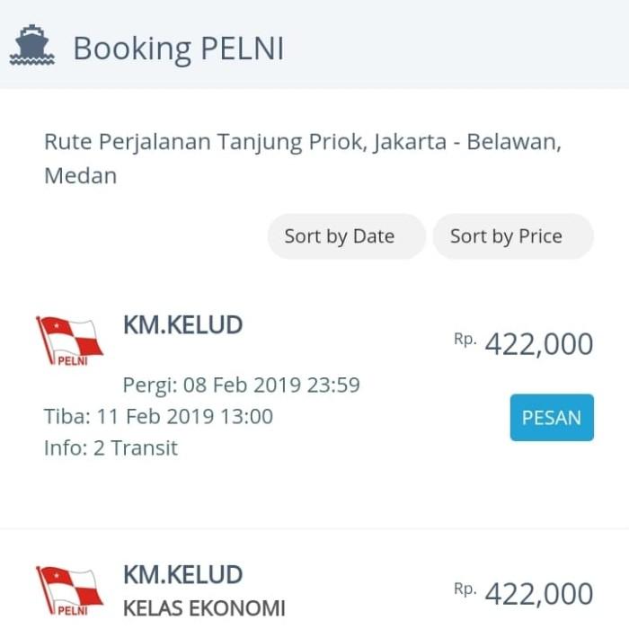 Jual Tiket Pelni Tanjung Priok Ke Belawan Rp 422 000 Kota Surabaya Yubie Tour And Travel Tokopedia