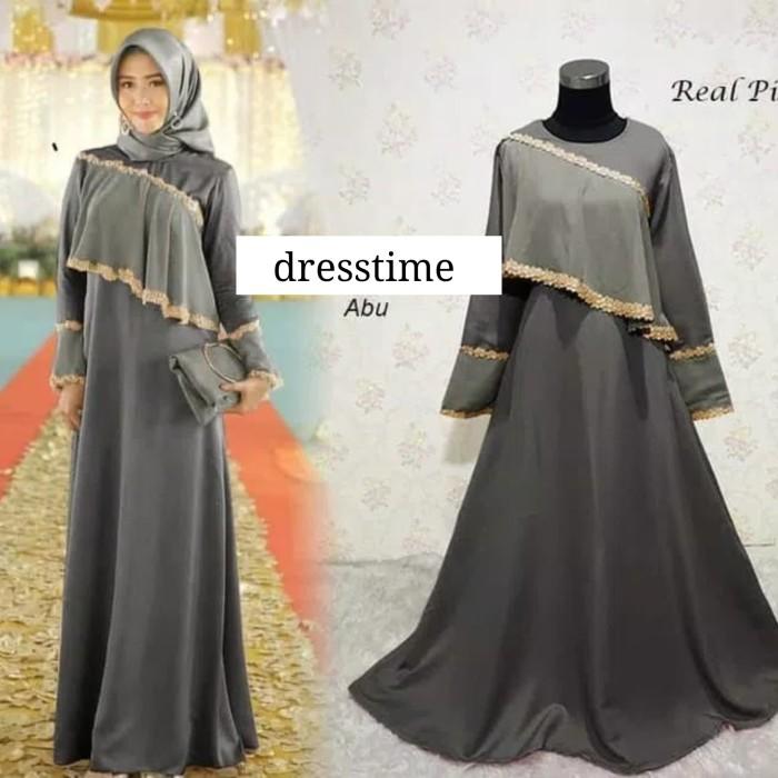 Jual 671 Gamis Layer Baju Muslim Renda Maxi Dress Gaun Pesta