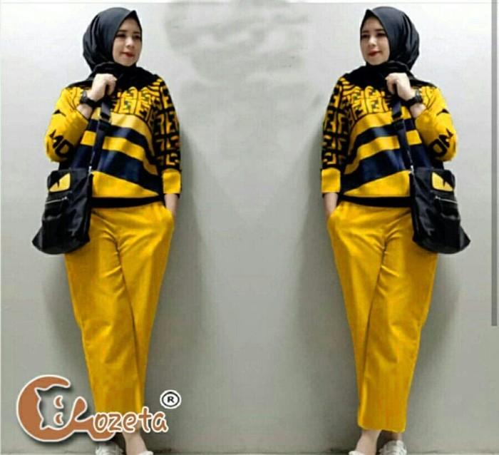 Foto Produk [setelan fendy celana yellow RO] Setelan wanita babytery kuning dari FASHIONISTA's GROSIR