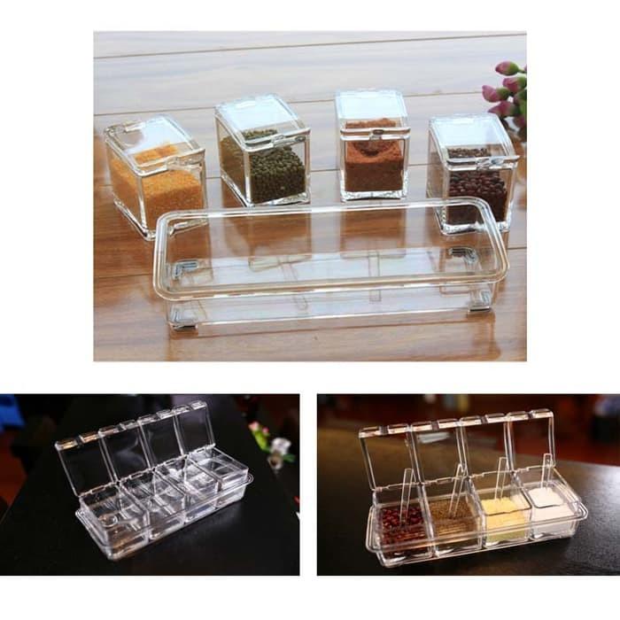 Grosir Rak Tempat Bumbu Seasoning Box Serbaguna 4 in 1 - Kristal - Rak