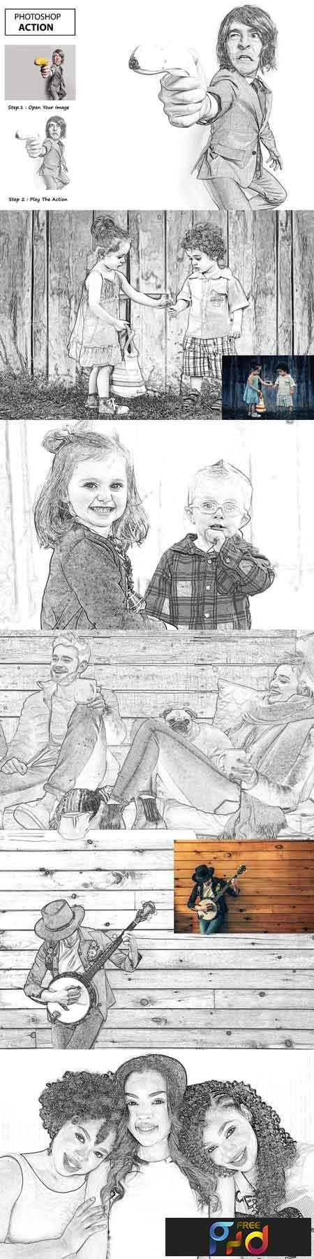 Pencil sketch photo shop action