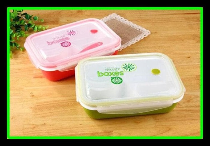 Promo Lunch Box / Kotak Makan Sup Yooyee 4 Sekat / Bento / Green Red