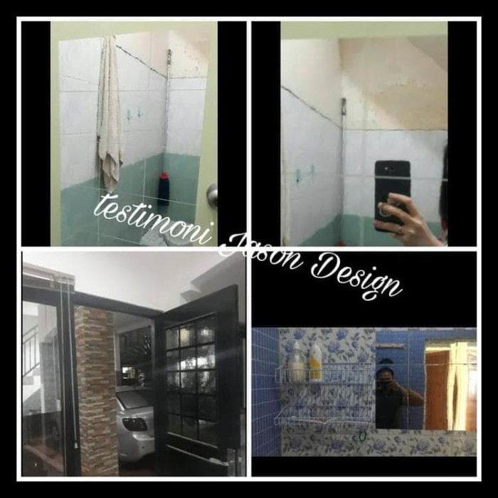 jual gratis ongkir wall sticker cermin mirror kaca wallpaper dinding