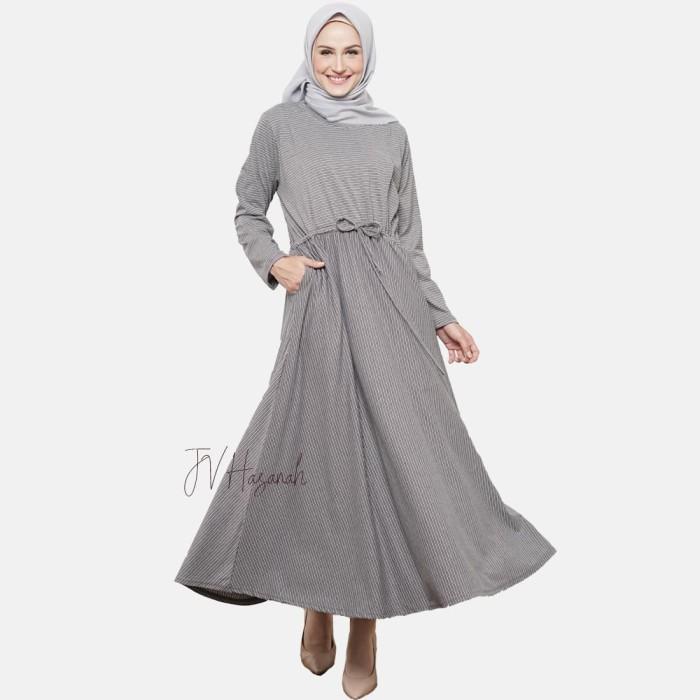 JV Hasanah Sabiya Stripes Dress - Dark Grey