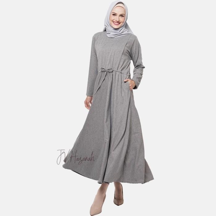 JV Hasanah Sabiya Stripes Dress - Grey