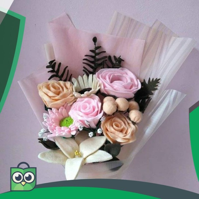 Jual Bunga Kain Flanel Cantik Buket Mawar Daisy Chrysanthemum
