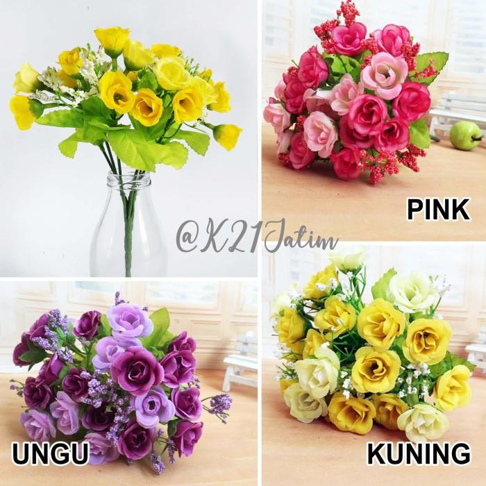 AF10 Artificial Flower Mini Rose Buket Bunga Mawar Palsu Dekorasi Meja -  Kuning b4b5ff5d61