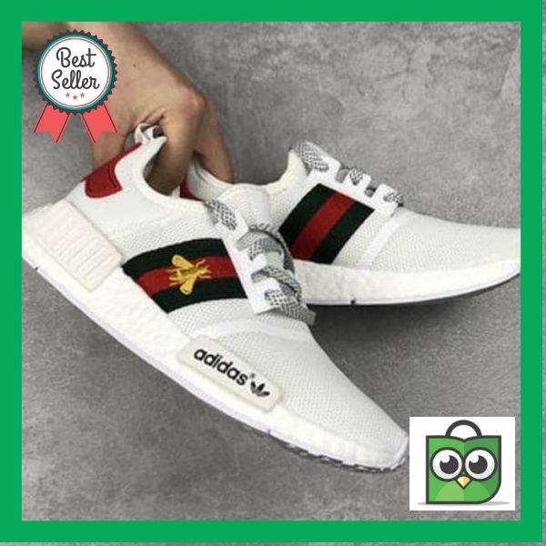 16c3d5c53772c Jual TERJAMIN New Arrival Adidas Nmd White X Gucci Bee Sepatu Jalan ...