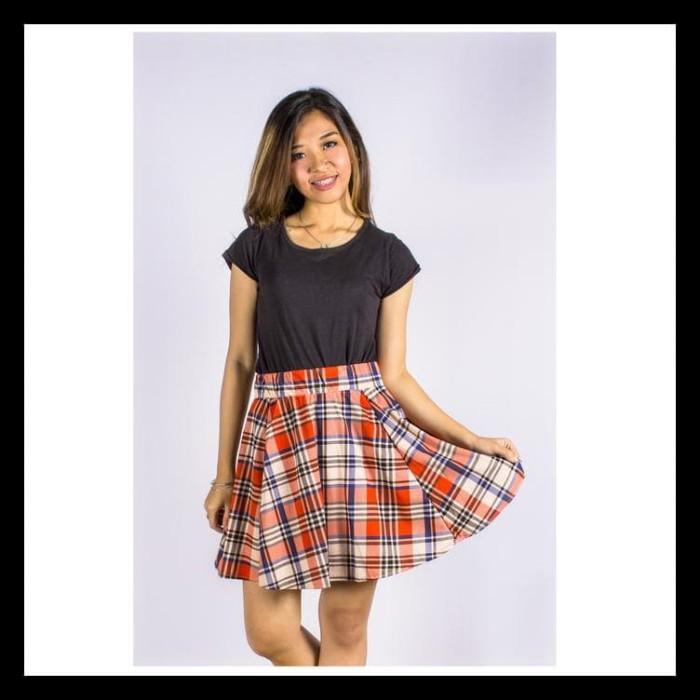 b691b4018f Jual BIG SALE Anya Tartan Skirt - Rok Flare Midi Kotak Plaid - Pink ...
