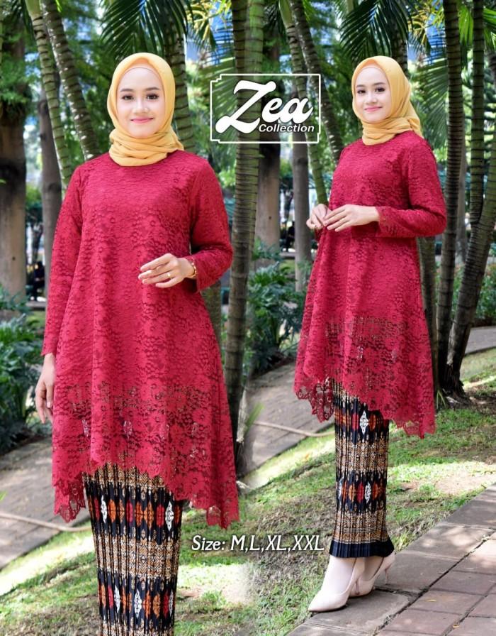Jual Set Kebaya Brokat Modern Terlaris Kebaya Model Tunik Merah Jakarta Pusat Toko Shohabat Tanahabang Tokopedia