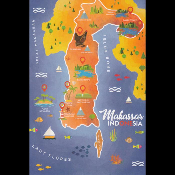 Jual Postcard Mapcard Makassar Sulawesi Selatan kartupos ilustrasi peta art  - Kota Depok - Manifesto letters&crafts | Tokopedia