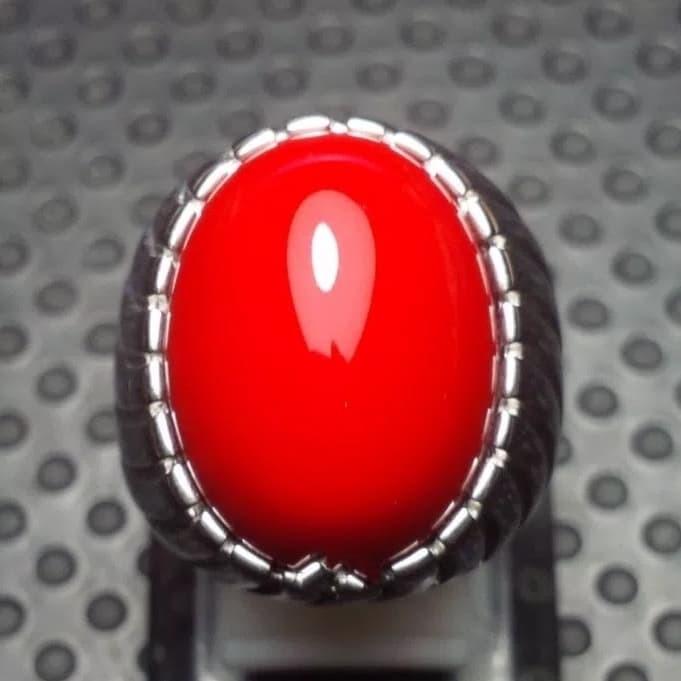 BATU NATURAL BATU ORANGISH RED MARJAN / RED CORAL TOP COLOR MURAH