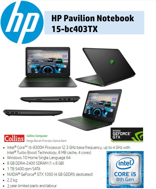 "Foto Produk HP PAVILION 15-BC403TX - I5-8300 8GB 1TB GTX1050 4GB WIN10 15.6""FHD dari Collins Computer"