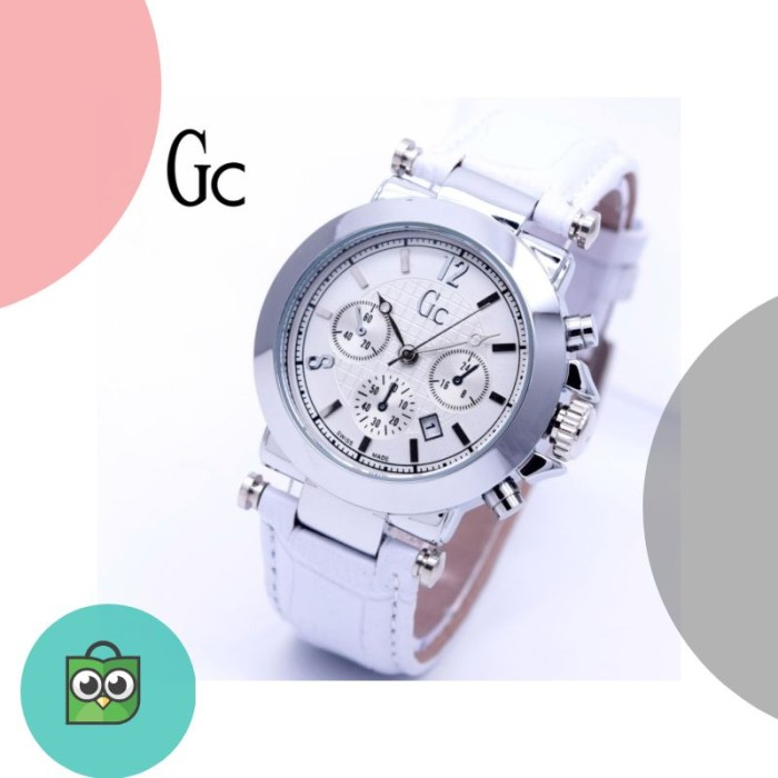 Jam Tangan Wanita GC Date Guess Collection Kulit Body Silver