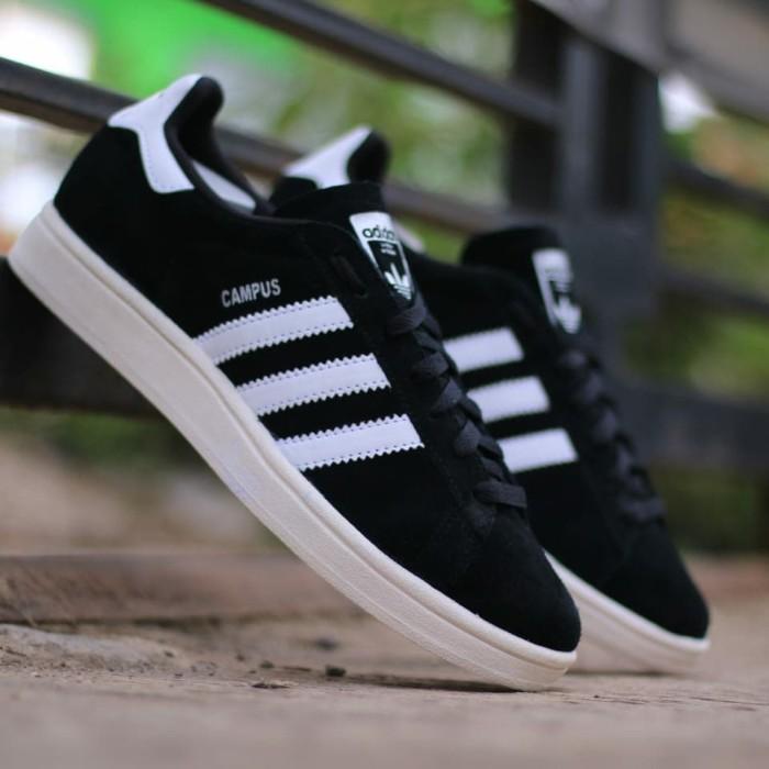 ... harga Sepatu pria adidas campus black white original sneakers cowok  keren Tokopedia.com 7af63c4a88