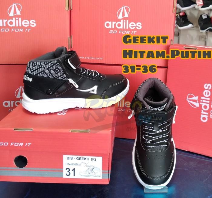 Jual Sepatu Sekolah Anak Ardiles Geekit Hitam Putih 31 Hitam