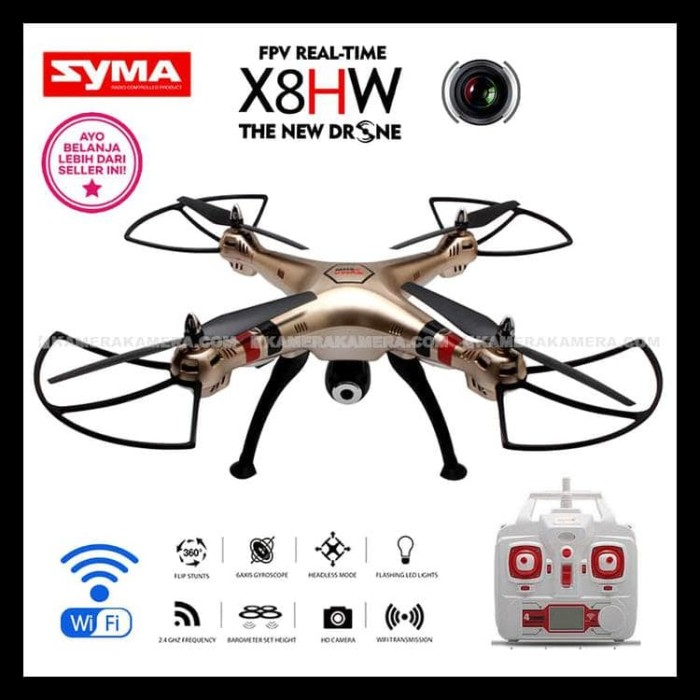 MURAH SYMA X8HW WITH CAMERA DRONE HOLD WIFI/LIVE VIEW/2 MP SUDAH READY