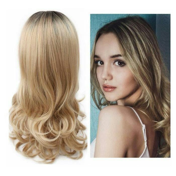 Dijual Rambut Palsu Wanita Curly Pirang Blonde Ombre -34.72 Di Kab ... 3771c70b99