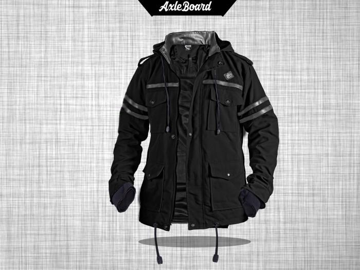 Jaket parka hoodie finger korean style semi kulit hitam axleboard - Hitam, XL
