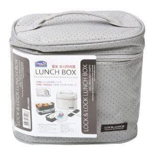 Lock Lock Lunch Box 3P Set W Gray Bag Spoon Fork Set