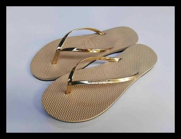 883e3cdf7 BERGARANSI Sandal Jepit Havaianas Leather For woman Gold TERLENGKAP