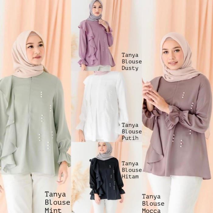 Atasan muslim wanita murah / Pakaian hitam / Baju busui : Tanya Blouse