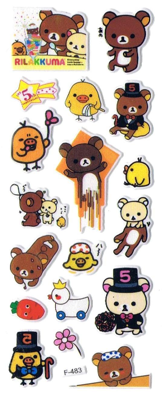 Jual SK360 Stiker Sticker Timbul Set Strip Aneka Gambar Kartun Rilakkuma Kab Sidoarjo Pusat Mainan Edukasi