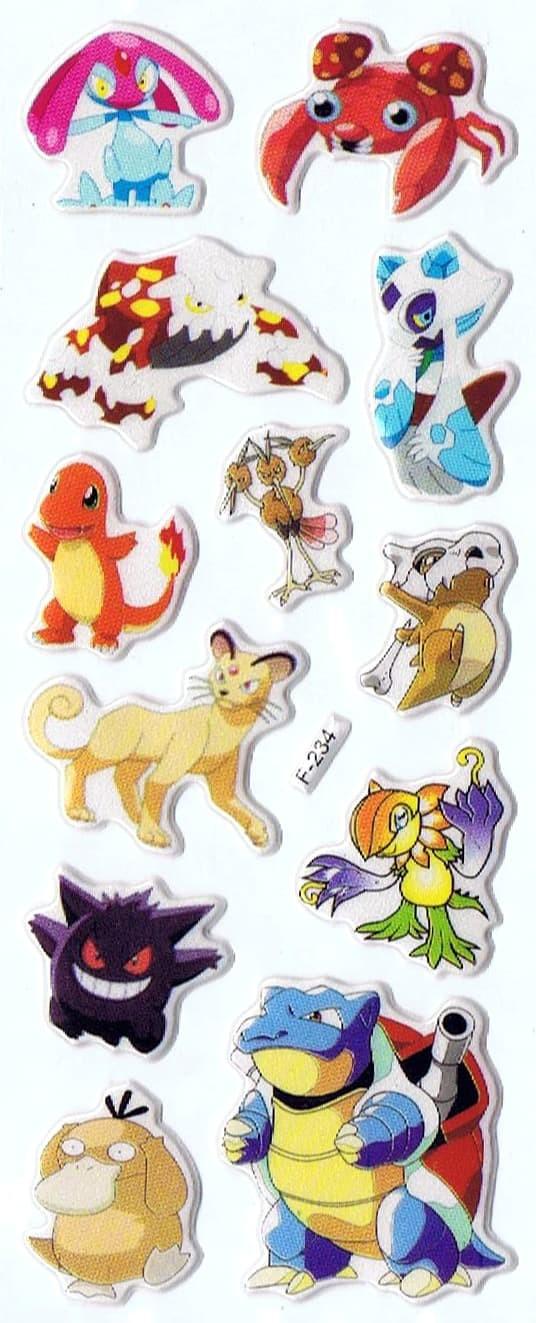 Jual SK383 Stiker Sticker Timbul Set Strip Aneka Gambar Kartun Pokemon Kab Sidoarjo Pusat Mainan Edukasi