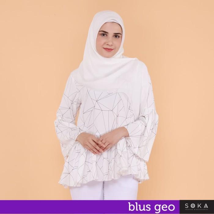 Foto Produk Blus Geo - Warna kombinasi garis coklat & ungu dari SOKAcraft