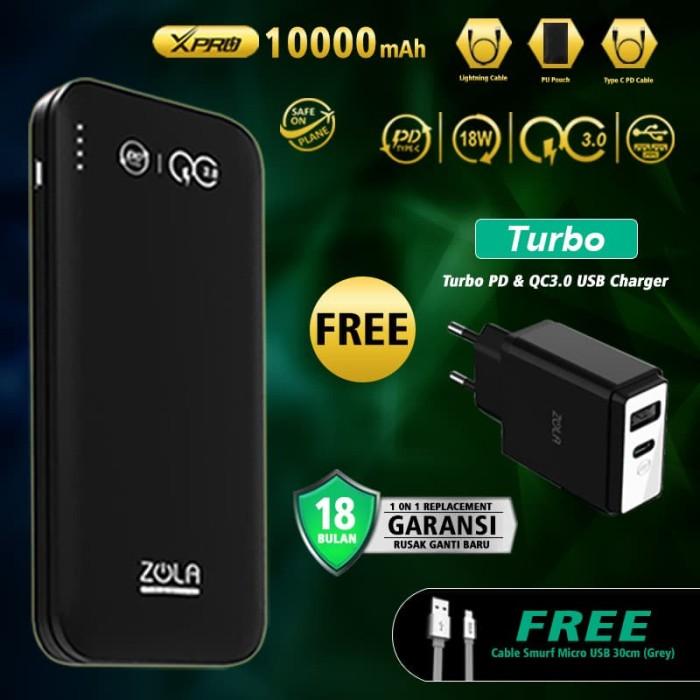 ZOLA Premium XPro 10000mAh Powerbank PD Power Delivery+Qualcomm QC3.0 - Abu-abu Muda