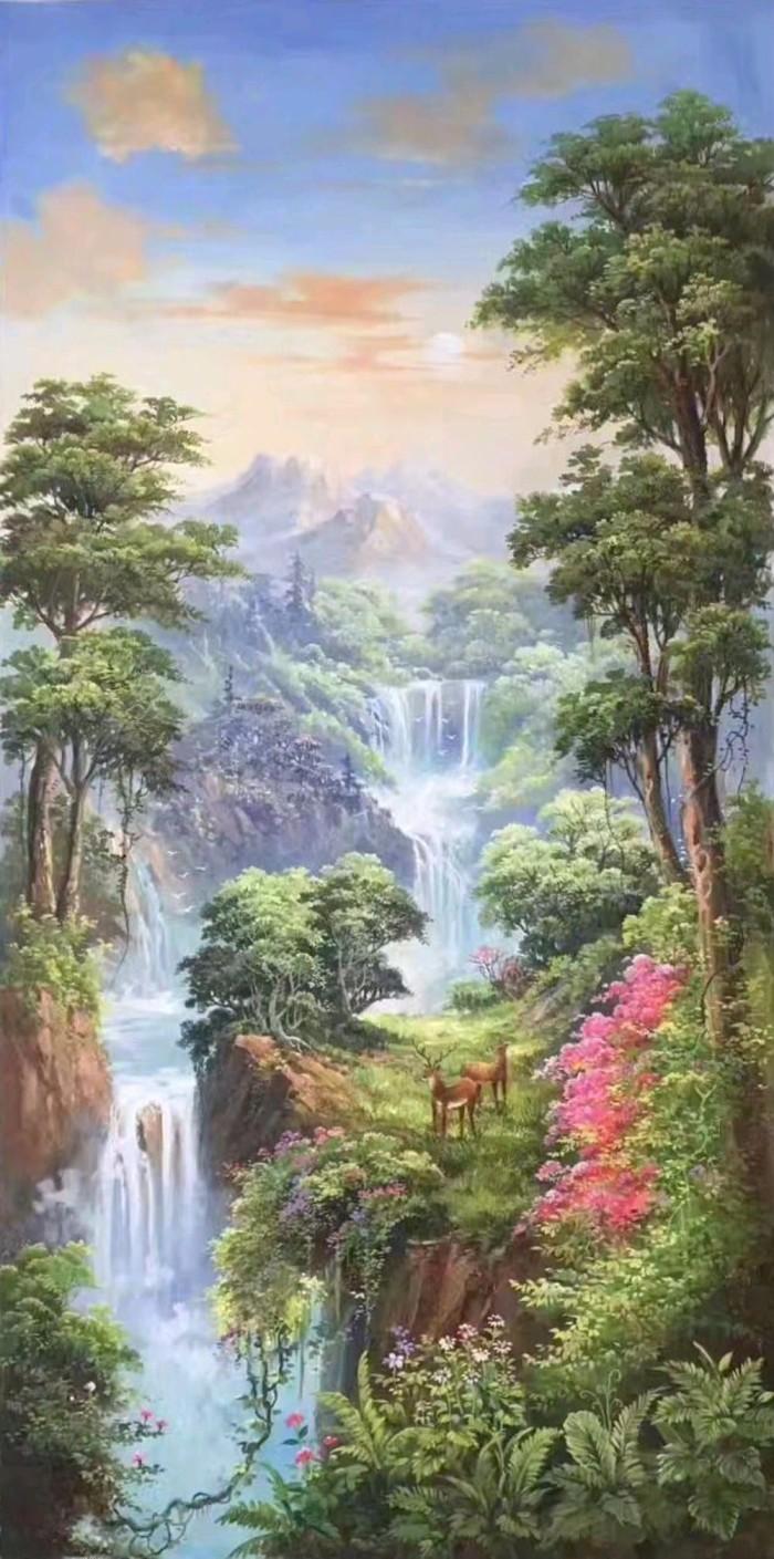 Jual PREMIUM Lukisan Pemandangan Gunung Dan Air Terjun Jakarta Barat MAWAR 140
