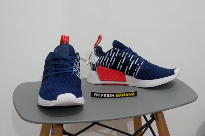 02a9edf0eb347 PREMIUM ORIGINAL Sepatu Running Adidas NMD R2 R 2 Navy Blue White Grey