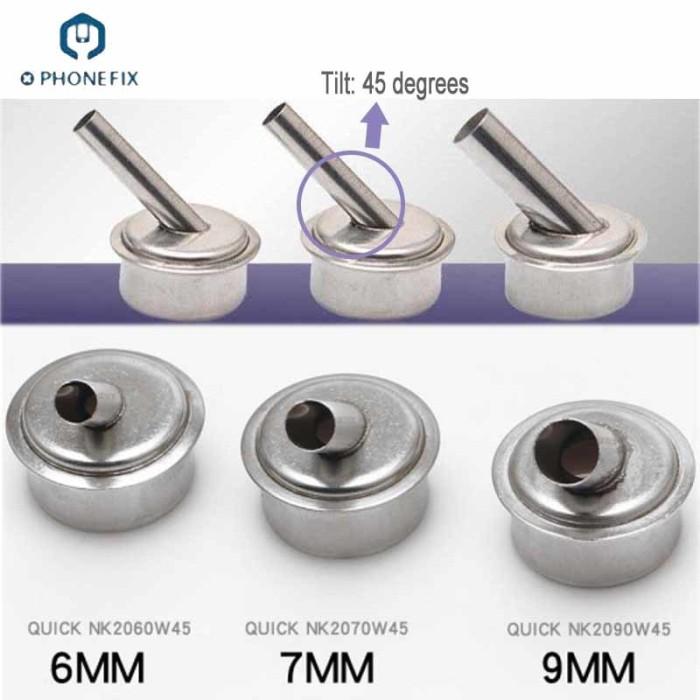 1Pcs 45 Degree 6mm 7mm 9mm Hot Air Gun Nozzle Heat Gun  Nozzle For Quick 861DW