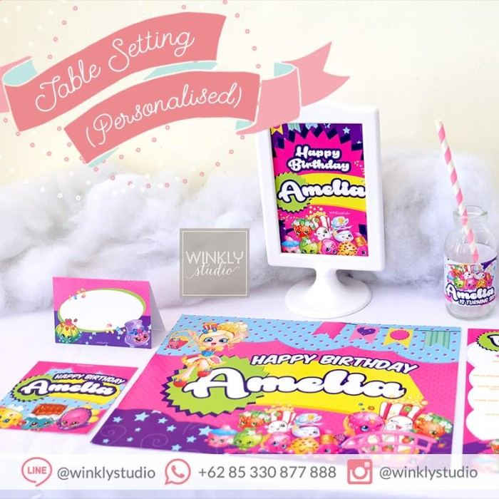 picture regarding Baby Shower Printable named Jual Shopkins Desk Surroundings Placemat Preset Printable Ultah Boy or girl Shower - Kota Surabaya - winklystudio Tokopedia