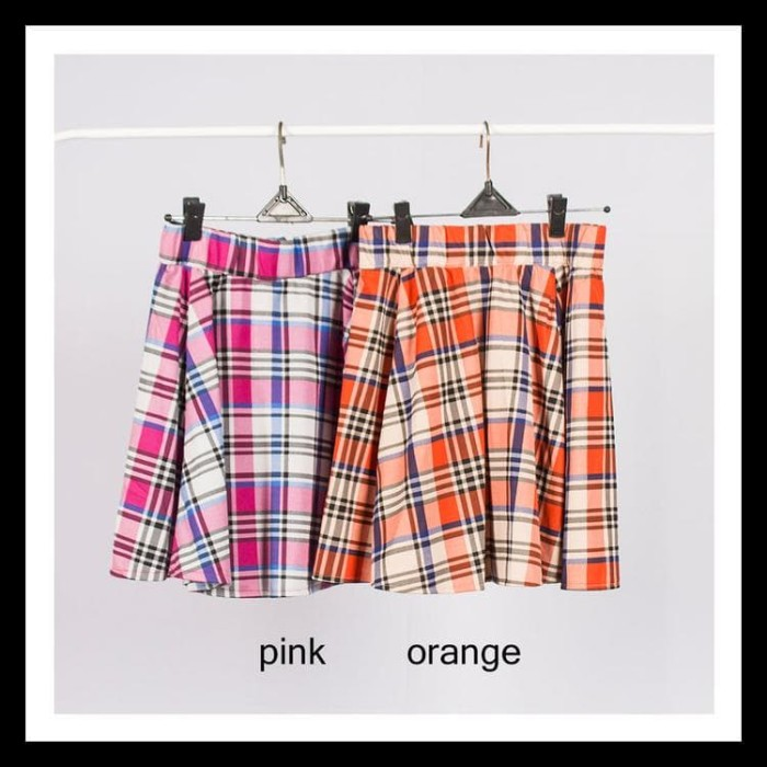 379d459ba7 Promo Anya Tartan Skirt - Rok Flare Midi Kotak Plaid - Pink Terlaris