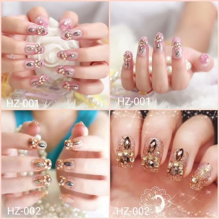 Nail Art Dan Extension Kuku: Jual Kuku Palsu Pernikahan Rose Gold Dan Rose Pink HZ-001