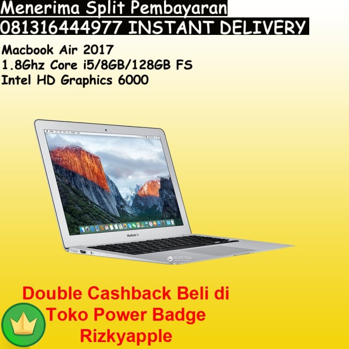 harga Ready stock bnib macbook air 13  2017 mqd32 core i5 ssd 128gb ram 8gb Tokopedia.com