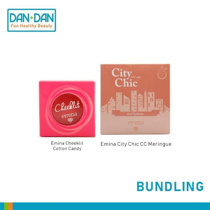 Emina cheek lit pressed blush cotton & city chic cc cake meringue