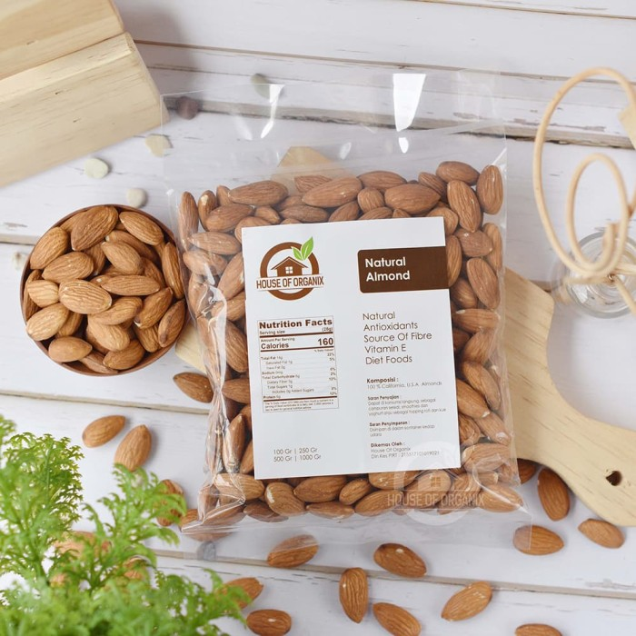 Natural Whole Almond ( Kacang Almond Natural ) 250 Gr